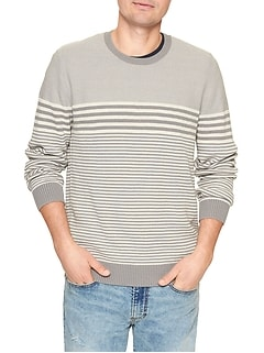 Stripe Crewneck Pullover Sweater