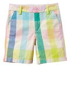 "4.75"" Plaid Flat Front Shorts"