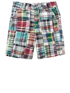 "4.75"" Plaid Patchwork Shorts"