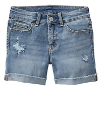 "3.75"" Destructed Denim Midi Shorts"