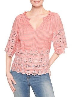 Three-Quarter Eyelet Blouse
