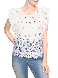 Eyelet Embroidery Flutter Sleeve Top
