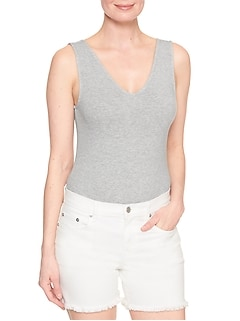 V-Neck Tank Bodysuit in Jersey