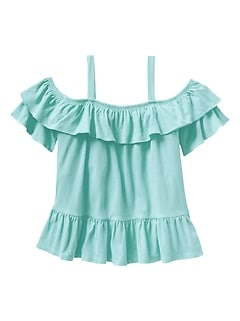 Ruffle Off-Shoulder T-Shirt