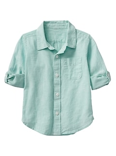 Convertible Shirt in Linen-Cotton
