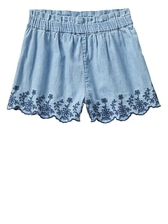 Pull-On Eyelet Denim Shorts