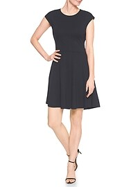 Cap-Sleeve Fit and Flare Dress in Ponte