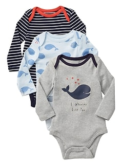 Whale Long Sleeve Bodysuit (3-Pack)