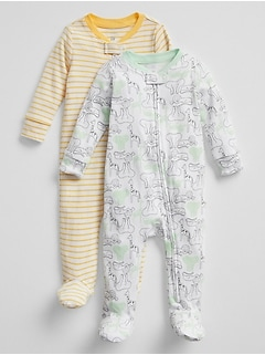 Baby Footed Zip One-Piece (2-Pack)
