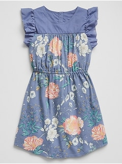 Print Mix-Media Flutter Dress