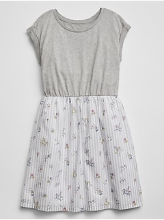 Short-Sleeve Mix-Media Dress in Jersey Knit