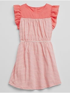 Stripe Mix-Media Flutter Dress
