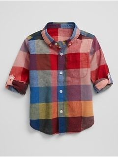 Plaid Convertible Linen-Cotton Shirt