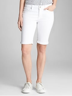 "Mid Rise 10"" Bermuda Shorts with Stretch"
