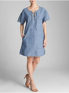 Lace-Up Dress in Chambray