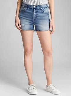"Mid Rise 3"" Denim Shorts with Distressed Detailing"