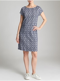 Keyhole Short-Sleeve Dress in Slub