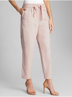 Dobby Cropped Pants in Cotton-Rayon