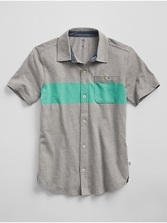 Colorblock Button-Down Shirt in Jersey