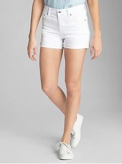 "High Rise 3"" Denim Shorts with Raw-Hem"
