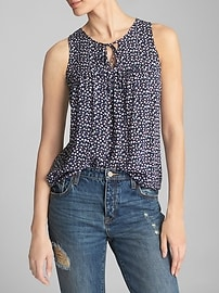 Print Pleated Keyhole Tank Top