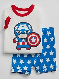 babyGap &#124 Marvel&#169 Capitan America Short Sleep Set