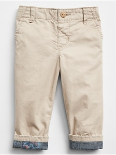 Chambray-Lined Chinos in Poplin