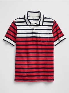 Stripe Polo in Slub