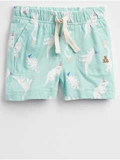Print Pull-On Shorts in Jersey