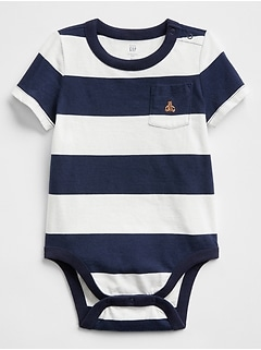 Stripe Brannan Bear Pocket Bodysuit