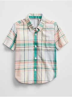 Short Sleeve Plaid Shirt in Poplin