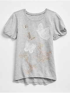 Embellished Graphic Tuck-Sleeve T-Shirt