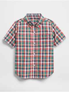 Short Sleeve Print Shirt in Poplin