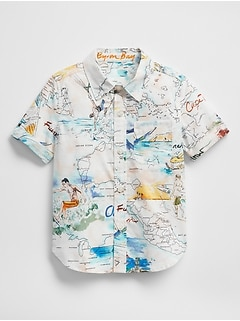 Short Sleeve Print Button-Down Shirt