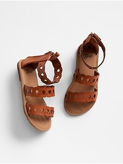 Strappy Scalloped Sandals