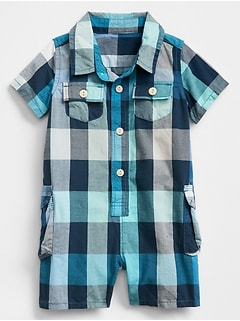 Plaid Two-Pocket Shorty One-Piece