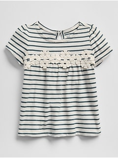 Stripe Lace-Yoke T-Shirt