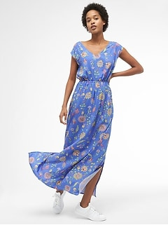 Floral Cap Sleeve Maxi Dress in Rayon