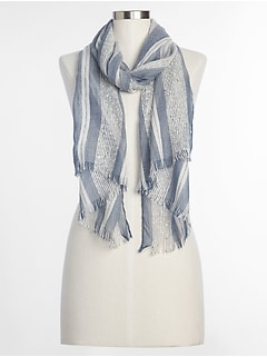 Oblong Mix-Stripe Chambray Scarf