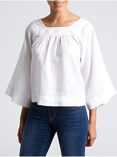 Raglan Sleeve Square-Neck Blouse in Linen