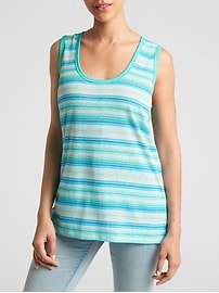 Linen-Cotton Stripe Tank