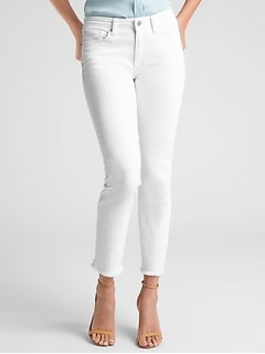 Mid Rise Straight Crop Jeans with Raw-Hem