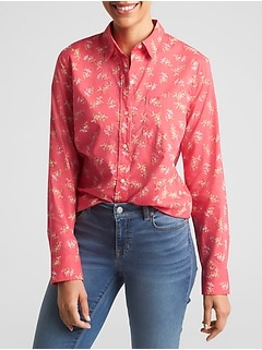 Print Boyfriend Shirt in Weave