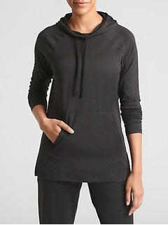 GapFit Tunic Hoodie in Marled Jersey