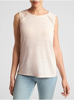 Sleeveless Crochet Insert T-Shirt in Linen-Jersey
