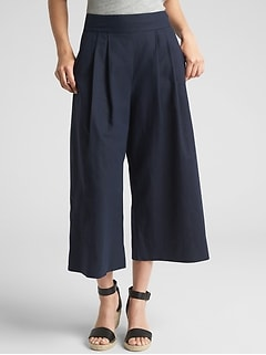 High Rise Cropped Wide-Leg Pants in Linen-Cotton