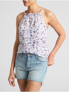 Print Braided Tank in Rayon