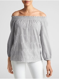 Eyelet Off-Shoulder Top