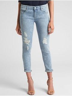 Mid Rise Destructed Girlfriend Jeans