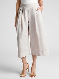 High Rise Cropped Wide-Leg Pants